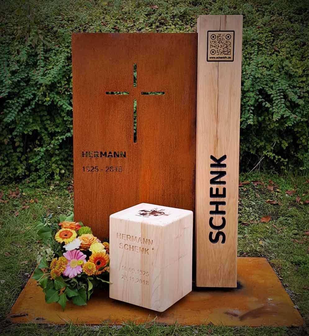 Grabmal aus Cortenstahl